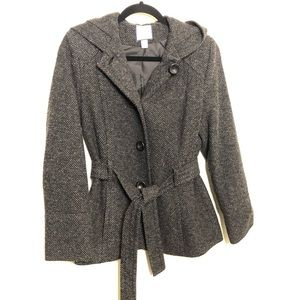 Croft & Barrow Wool Black and Gray Peacoat